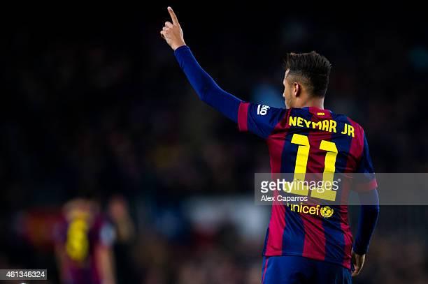 Neymar Santos Jr of FC Barcelona celebrates after scoring the opening goal during the La Liga match between FC Barcelona and Club Atletico de Madrid...