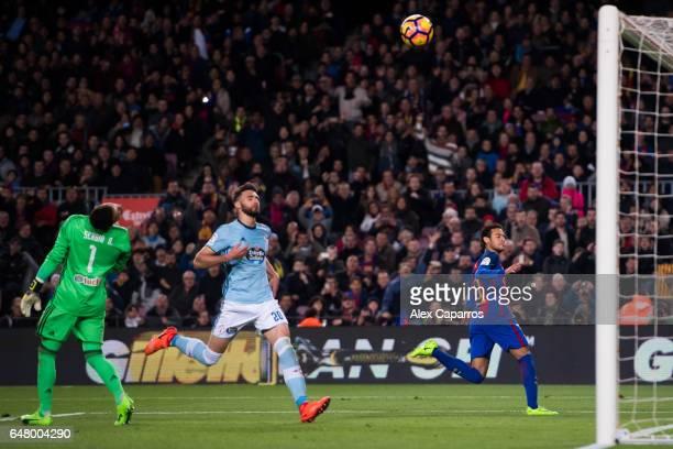 Neymar Santos Jr of FC Barcelona celebrates as he scores his team's second goal during the La Liga match between FC Barcelona and RC Celta de Vigo at...