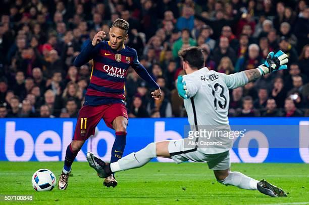 Neymar Santos Jr of FC Barcelona challenges Iago Herrerin of Athletic Club during the Copa del Rey Quarter Final Second Leg between FC Barcelona and...
