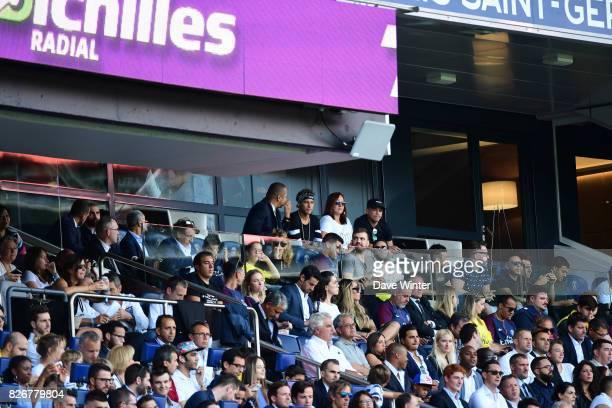 Neymar Santos Senior, father of Neymar JR of PSG, Neymar JR of PSG and Nadine Santos, mother of Neymar JR of PSG, during the Ligue 1 match between...