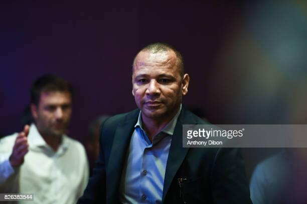 Neymar Santos Snr father of Neymar jr during press conference of Paris SaintGermain at Parc des Princes on August 4 2017 in Paris France