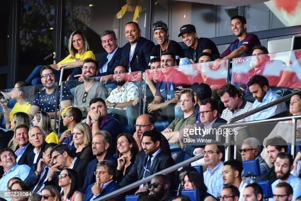 Neymar SR father Neymar JR of PSG and his best friend Jo Amancio enjoying the match with his father and his entourage during the Ligue 1 match...