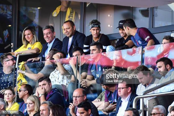 Neymar SR father Neymar JR of PSG and his best friend Jo Amancio enjoying the match and his entourage during the Ligue 1 match between Paris Saint...
