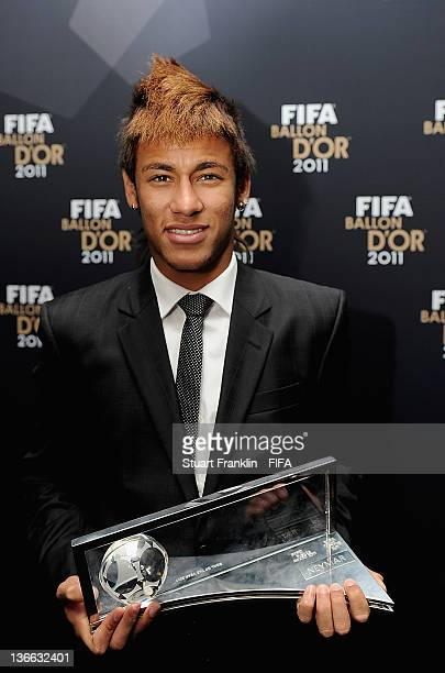 Neymar with his trophy after winning the FIFA Puskas Award at the FIFA Ballon d'Or Gala 2011 at the Kongresshaus on January 09 2012 in Zurich...