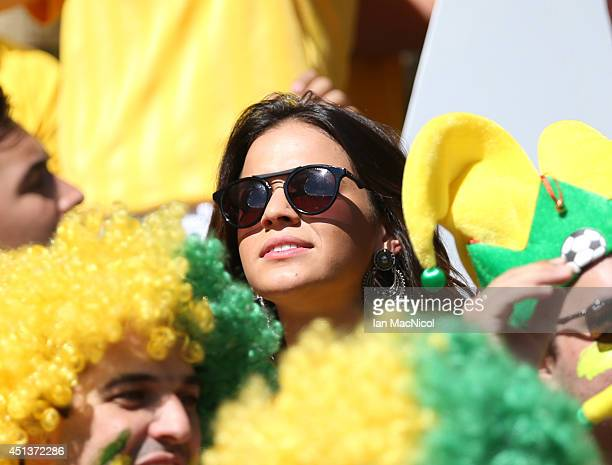 Neymar's girlfriend Bruna Marquezine during the Round of 16 match of the 2014 World Cup between Brazil and Chile at The Estadio Mineirao on June 28...