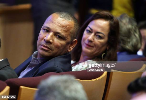 Neymar's parents, Neymar Senior and Nadine Santos during their son's press conference and jersey presentation after his signing as new player of...