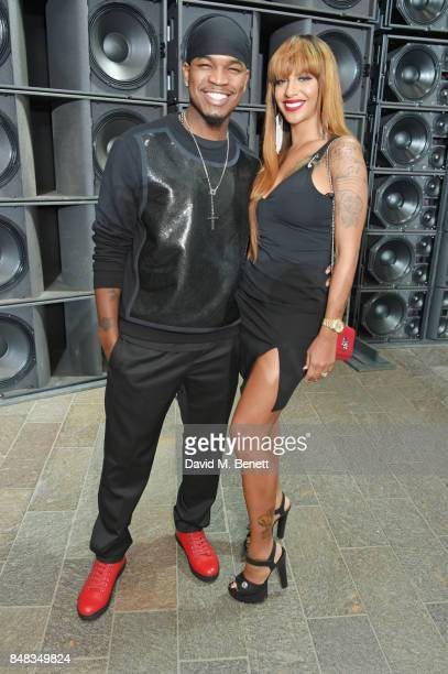 NeYo and Crystal Renay attend the Versus SS18 catwalk show during London Fashion Week September 2017 at Central St Martins on September 17 2017 in...