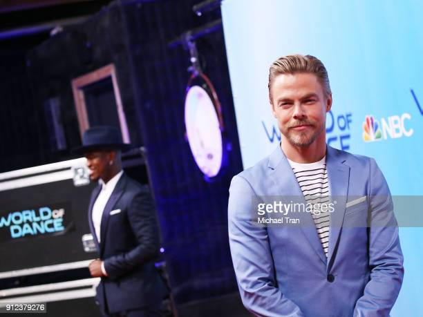 NeYo and Derek Hough attend the photo op for NBC's 'World Of Dance' held at NBC Universal Lot on January 30 2018 in Universal City California