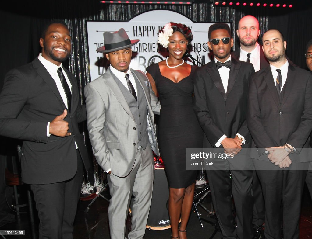 Neyo and Fabolous pose with band members during Fabolous' The Great Fabsby Birthday Celebration at Jazz Room at the General on November 18, 2013 in New York City.