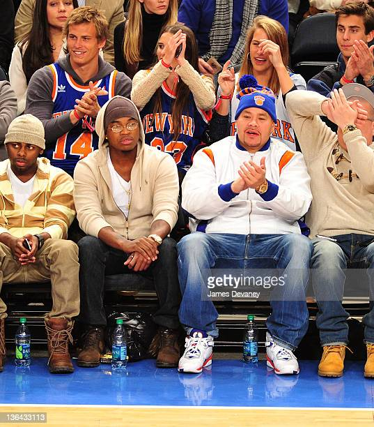 NeYo and Fat Joe attend the Charlotte Bobcats vs the New York Knicks game at Madison Square Garden on January 4 2012 in New York City