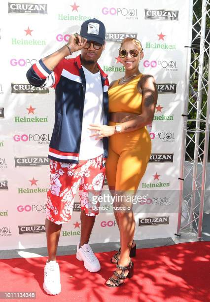 NeYo and his wife Crystal Renay arrive at the KIISFM official summer pool party at the Flamingo Go Pool Dayclub at Flamingo Las Vegas on August 4...