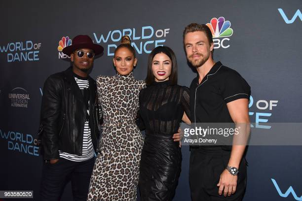 NeYo Jennifer Lopez Jenna Dewan and Derek Hough attend FYC Event For NBC's World Of Dance at Saban Media Center on May 1 2018 in North Hollywood...