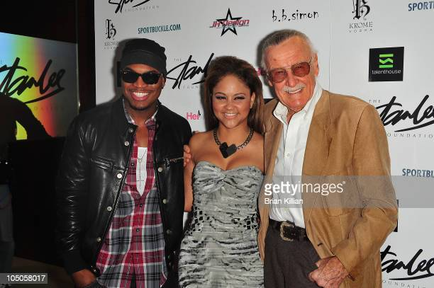 NeYo Kat Deluna and Stan Lee attend the launch of the Stan Lee Foundation at NASDAQ MarketSite on October 7 2010 in New York City