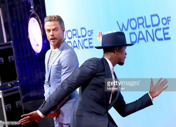 NeYo photo bombs Derek Hough at the photo op for NBC's 'World Of Dance' held at NBC Universal Lot on January 30 2018 in Universal City California