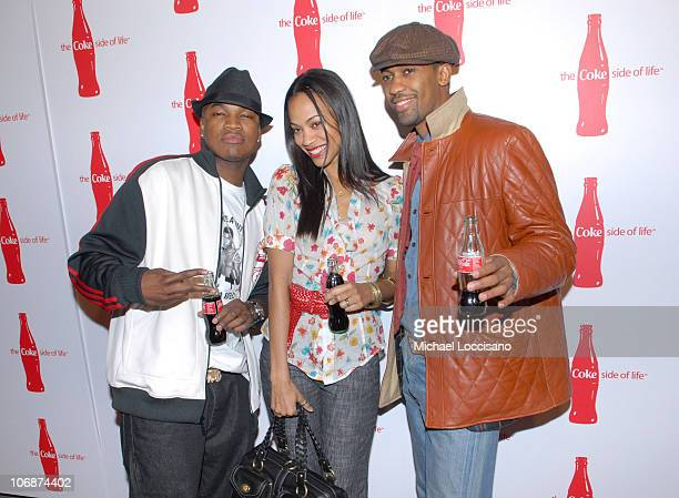 NeYo Zoe Saldana and Fonzworth Bentley during CocaCola's Coke Side Of Life Launch Party with a Performance by NeYo March 30 2006 at Capitale in New...