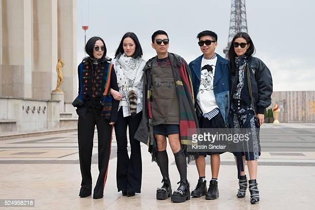 nFashion Blogger Yoyo Cao wearing all Sacai Fashion Buyer Tiffany Hsu wearing Sacai and a Loewe bag Fashion stylist Declan ChennFashion Blogger and...