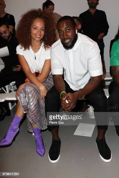 Nfl Player Kam Chancellor and his wife Tiffany Luce attend the OAMC Menswear Spring/Summer 2019 show as part of Paris Fashion Week on June 20 2018 in...