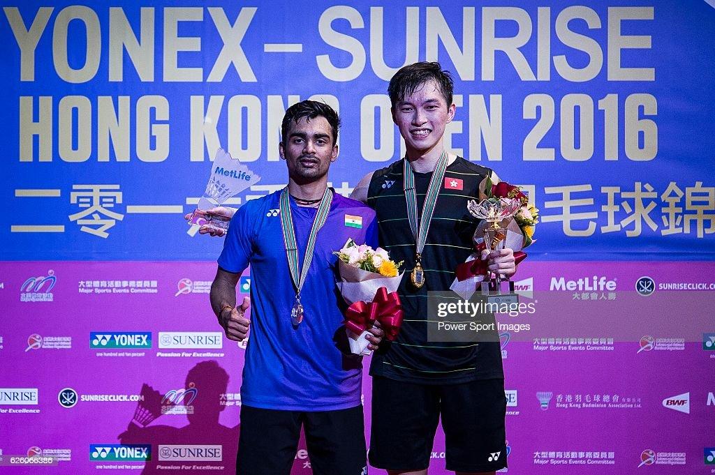 Ng Ka Long Angus of Hong Kong (r) celebrating after defeating Sameer Verma of India (l) in their Men's Singles Final during the YONEX-SUNRISE Hong Kong Open Badminton Championships 2016 at the Hong Kong Coliseum on November 27, 2016 in Hong Kong, Hong Kong.