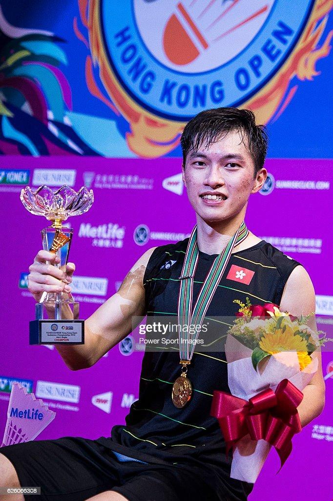 Ng Ka Long Angus of Hong Kong celebrating with his trophy after defeating Sameer Verma of India in their Men's Singles Final during the YONEX-SUNRISE Hong Kong Open Badminton Championships 2016 at the Hong Kong Coliseum on November 27, 2016 in Hong Kong, Hong Kong.