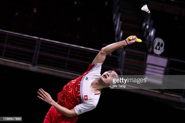 Ng Ka Long Angus of Hong Kong competes in the Men's Singles round robin match against Wang Tzu Wei of Chinese Taipei on day one of the HSBC BWF World...