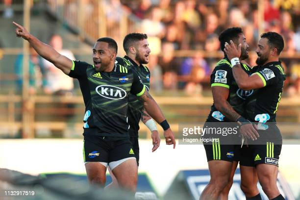 Ngani Laumape celebrates after scoring a try during the round three Super Rugby match between the Hurricanes and the Brumbies at Central Energy Trust...