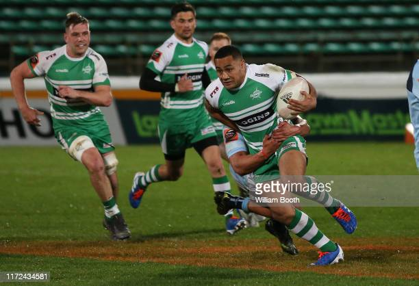 Ngani Laumape of Manawatu during the round 5 Mitre 10 Cup match between Manawatu and Northland at Central Energy Trust Arena on September 05, 2019 in...
