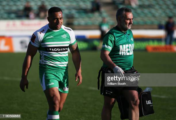 Ngani Laumape of Manawatu leaves the field injured during the round 10 Mitre 10 Cup match between Manawatu and Counties Manukau at Central Energy...