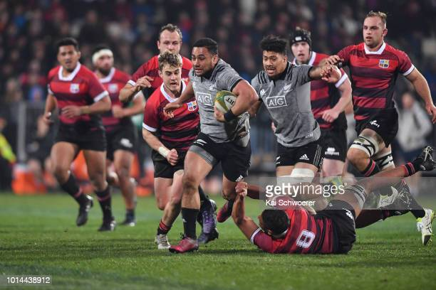 Ngani Laumape of the All Blacks charges forward during the Game of Three Halves between the New Zealand All Blacks and Canterbury at AMI Stadium on...