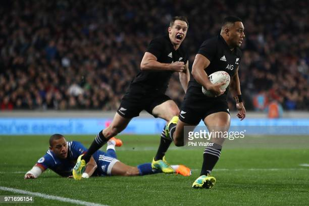 Ngani Laumape of the All Blacks runs in for a try during the International Test match between the New Zealand All Blacks and France at Eden Park on...