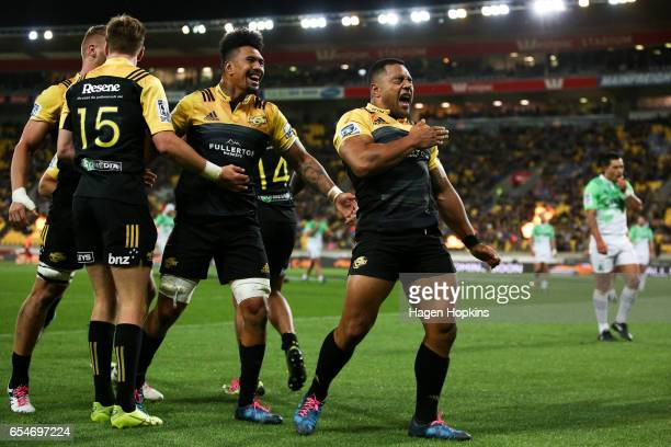 Ngani Laumape of the Hurricanes celebrates after scoring a try during the round four Super Rugby match between the Hurricanes and the Highlanders at...