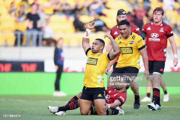 Ngani Laumape of the Hurricanes celebrates scoring a try during the round seven Super Rugby Aotearoa match between the Hurricanes and the Crusaders...