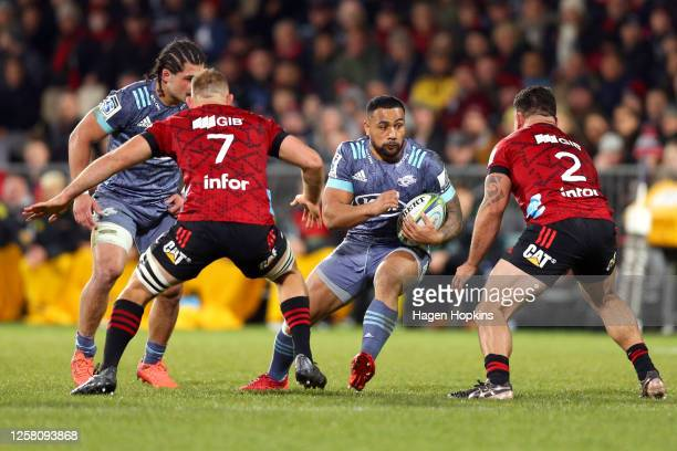 Ngani Laumape of the Hurricanes charges forward during the round 7 Super Rugby Aotearoa match between the Crusaders and the Hurricanes at...
