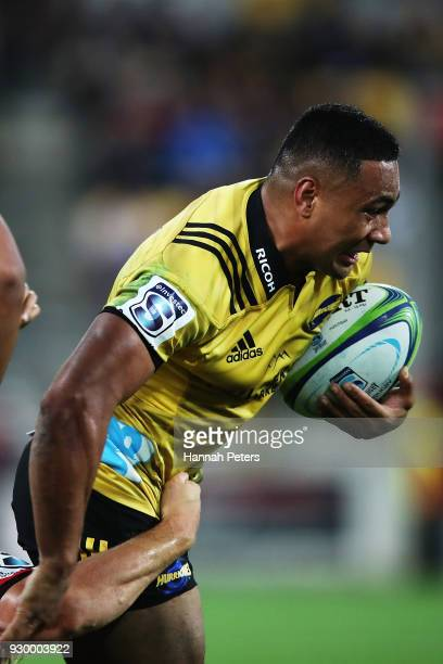 Ngani Laumape of the Hurricanes charges forward during the round four Super Rugby match between the Hurricanes and the Crusaders at Westpac Stadium...