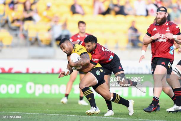 Ngani Laumape of the Hurricanes dives over to score a try during the round seven Super Rugby Aotearoa match between the Hurricanes and the Crusaders...