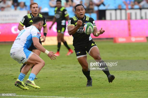 Ngani Laumape of the Hurricanes during the Super Rugby match between Vodacom Bulls and Hurricanes at Loftus Versfeld Stadium on February 24 2018 in...