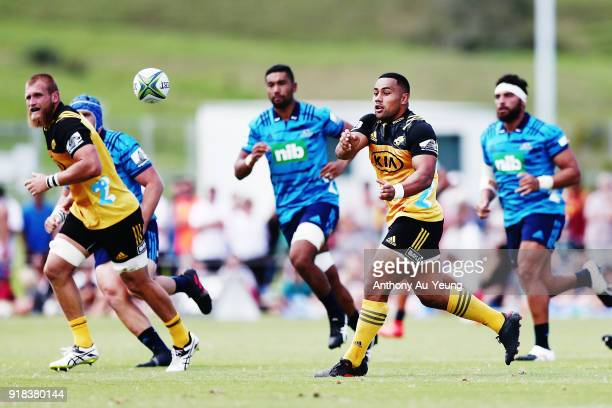 Ngani Laumape of the Hurricanes in action during the Super Rugby trial match between the Blues and the Hurricanes at Mahurangi Rugby Club on February...