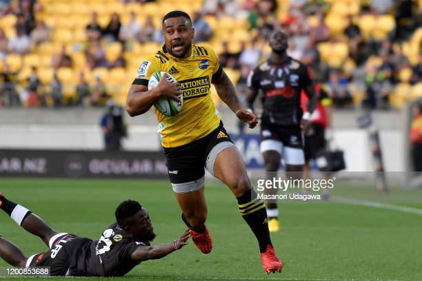 Ngani Laumape of the Hurricanes scores his teams second try during the round 3 Super Rugby match between the Hurricanes and the Sharks at Westpac...