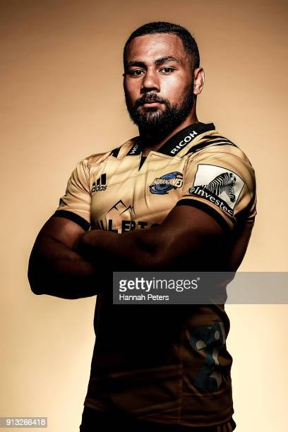 Ngani Laumape poses during the Wellington Hurricanes 2018 Super Rugby headshots session on January 22 2017 in Auckland New Zealand