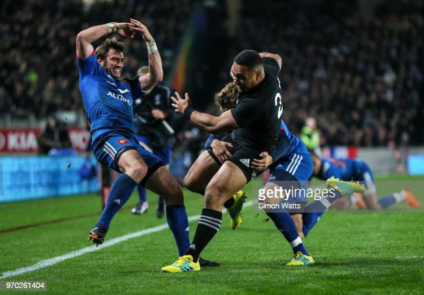 Ngani Lumape of New Zealand scores a try during the International Test match between the New Zealand All Blacks and France at Eden Park on June 9...
