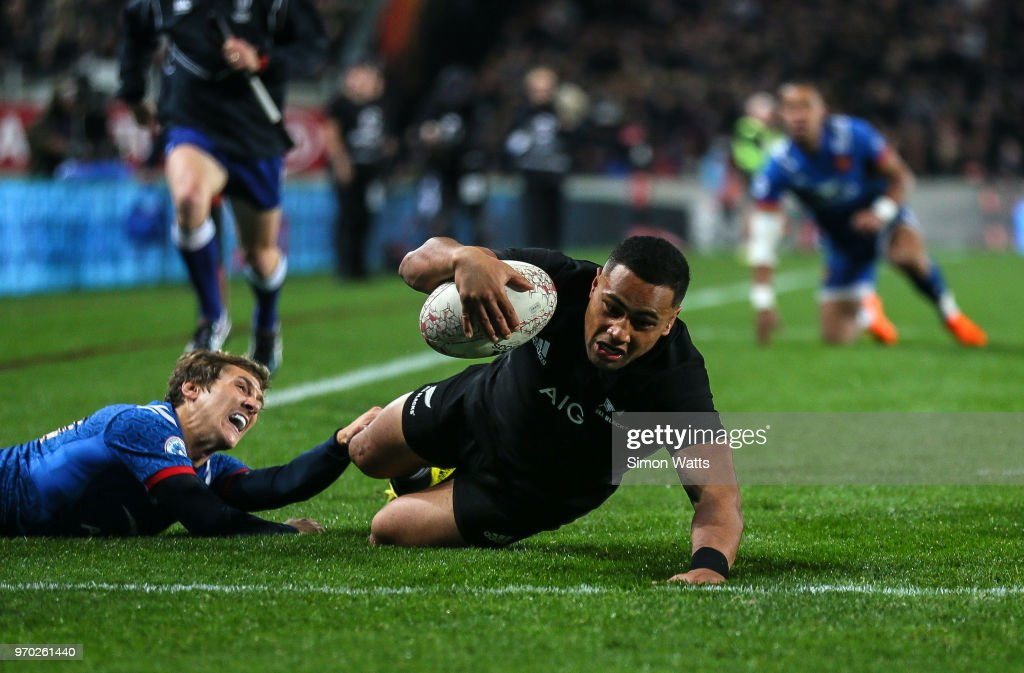 Ngani Lumape of New Zealand scores a try during the International Test match between the New Zealand All Blacks and France at Eden Park on June 9, 2018 in Auckland, New Zealand.