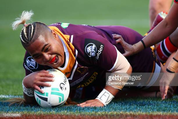 Ngatokotoru Arakua of the Broncos scores a try during the 2018 NRL Women's Premiership Grand Final match between the Sydney Roosters and the Brisbane...