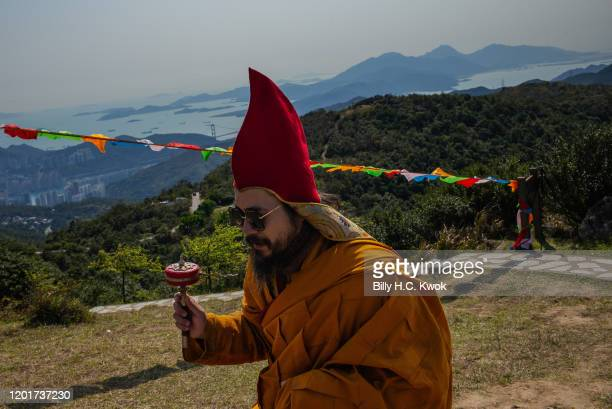 Ngawang Kungo Tenzin Gyatso Rinpoche of the Jonang school of Tibetan Buddhism speaks during the ninth Hong Kong Buddha Sunning Festival at the Tai Mo...