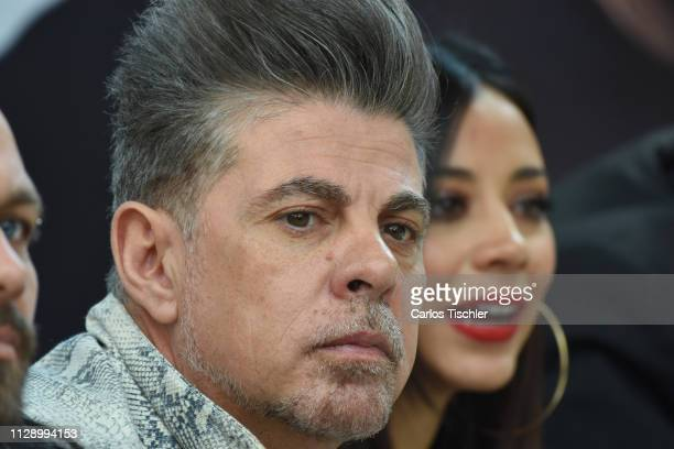 Ángel Baillo and Jass Reyes of Playa Limbo talks during a press conference to present the show 'Juntos Por Una Causa' at Auditorio Nacional on...