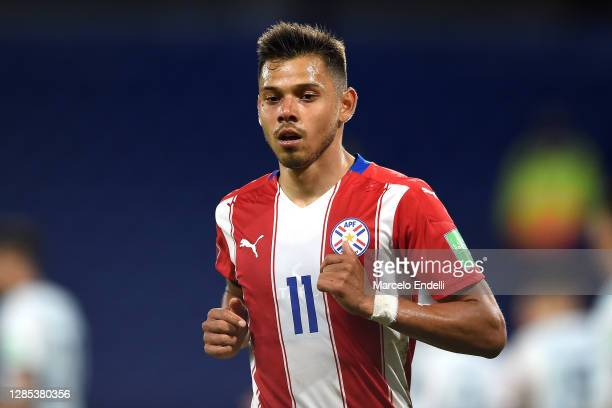 Ángel Romero of Paraguay looks on during a match between Argentina and Paraguay as part of South American Qualifiers for Qatar 2022 at Estadio...