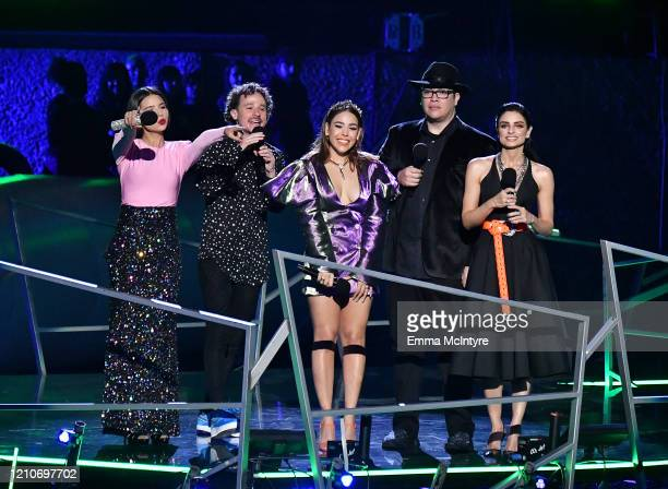 Ángela Aguilar Luisito Comunica Danna Paola Franco Escamilla and Aislinn Derbez speak onstage during the 2020 Spotify Awards at the Auditorio...