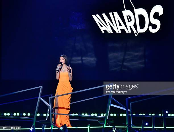 Ángela Aguilar speaks onstage during the 2020 Spotify Awards at the Auditorio Nacional on March 05, 2020 in Mexico City, Mexico.