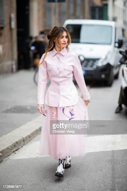 Ángela Rozas Saiz attends the Ermanno Scervino show at Milan Fashion Week Autumn/Winter 2019/20 on February 23 2019 in Milan Italy