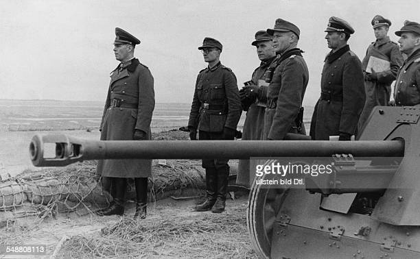 ERWIN ROMMEL /nGerman Field Marshal Rommel commander of the German Afrika Korps inspecting the German position at the Atlantic Wall near Fecamp...