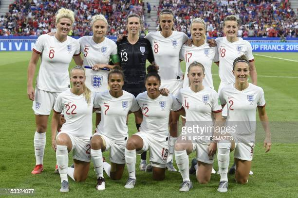 ngland's players pose ahead of the France 2019 Women's World Cup semifinal football match between England and USA on July 2 at the Lyon Satdium in...