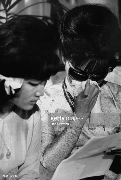 Ngo Dinh Le Thuy and her mother Madame Ngo Dinh Nhu sitting in Beverly Wilshire Hotel shortly after learning of revolt in Vietnam